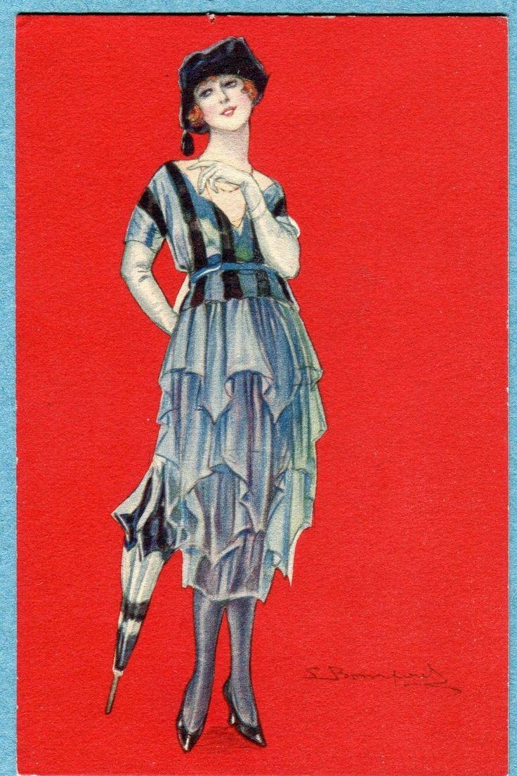 B8513 Postcard Bompard Woman in Hat with Umbrella | eBay