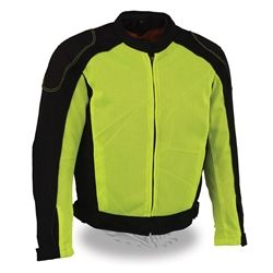 Breathable high visibility neon green mesh racing jacket with removable body armor in the back, shoulders and elbows. Removable full sleeve zip out waterproof rain jacket liner with snap out quilted liner, remove liner to ride with mesh outer shell in warm weather. Interior concealed carry gun pockets for safe carrying of your weapon.