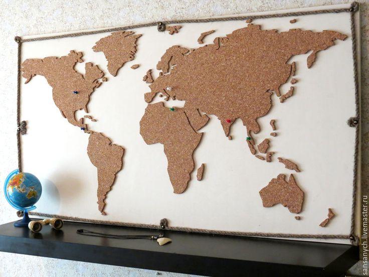 """Купить Панель """"Карта мира"""" - белый, панель, карта, карта мира, пробка, пробковое дерево"""