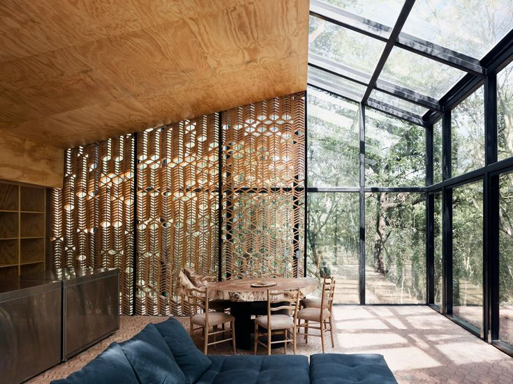 <p>For this new house project, Los Terrenos (The Terrains), Mexican architect Tatiana Bilbao conceived a trio of small buildings (just under 2,200 square feet in total), each of which serves a specifi