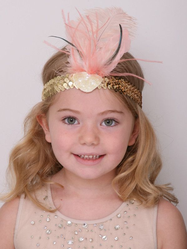 Feather Headband - Apricot and Gold    #PartyIdeas #BirthdayParties #KidsParties #enchantedparty #ChildrensPartyHat #PartyHats #KidsPartyHats
