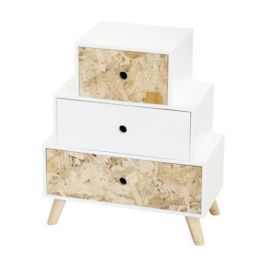 Meuble bas 3 tiroirs mdf et pin 40 x 20 x h 48 cm blanc et marron à découvrir dans le rayon meubles de salon chez lafoirfouille fr ✓ plus de 220