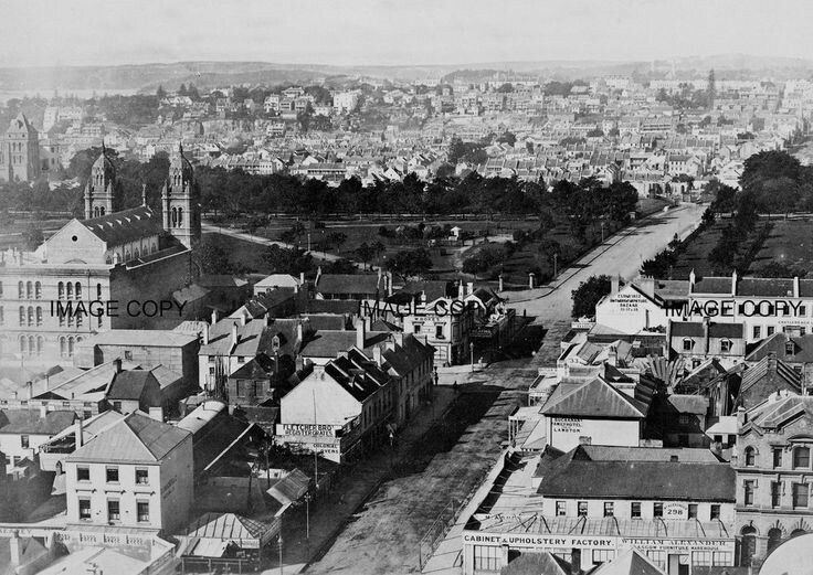 Park St,Sydney from Town Hall to Woolloomooloo in 1880.