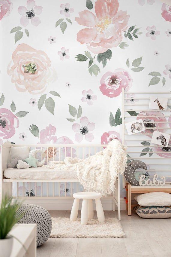 Nursery Wallpaper Peel And Stick Self Adhesive Watercolor Etsy Kids Room Wallpaper Girls Room Wallpaper Nursery Wallpaper