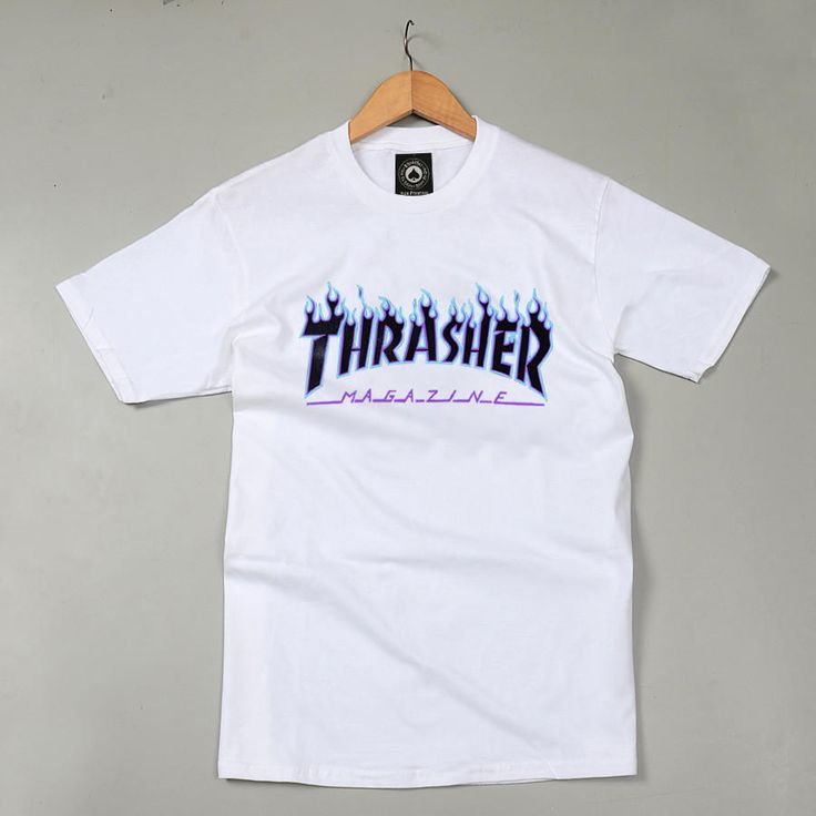 Thrasher Magazine Blue Flame Logo White & Black T-Shirt from JAKKOUTTHEBXX. Saved to Shirts.