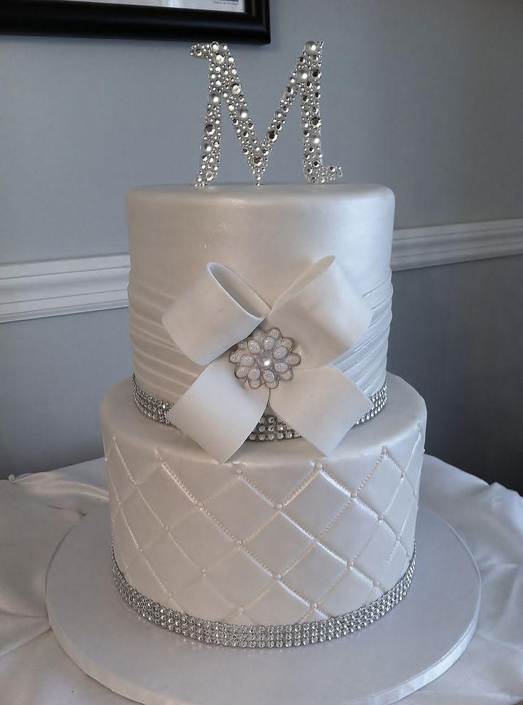 Round Wedding Cakes - All white wedding cake with bling and custom monogram gumpaste keepsake topper.
