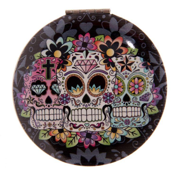 Compact Mirror - Dia de los Muertos - Mexican Skull http://www.raspberryheels.com/shop/produkt,en,stylish,lusterko-okragle-czarne.html