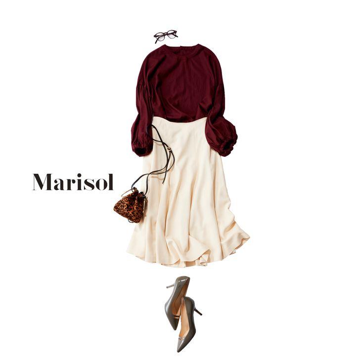 ふんわり袖コンシャスなブラウスで目指せ!艶感のあるアラフォー女子【2017/11/16コーデ】Marisol ONLINE|女っぷり上々!40代をもっとキレイに。