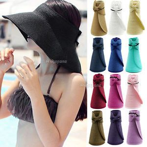 Fashion New Women Lady Foldable Roll Up Sun Beach Wide Brim Straw Visor Hat Cap