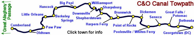 C & O Canal Towpath Trail--185 miles from Cumberland, MD to Georgetown via Berkeley Springs, Harpers Ferry, Point of Rocks and Great Falls. Excellent trail for riding and hiking and plenty of opportunity for off-trail sight-seeing.