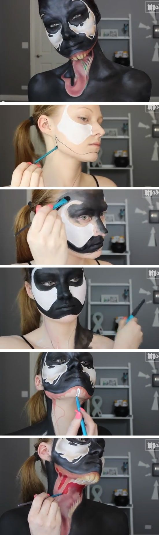 Spiderman - Venom Makeup Tutorial | Click Pic for 22 Easy DIY Halloween Costumes for Women 2014 | Last Minute Halloween Costumes for Women