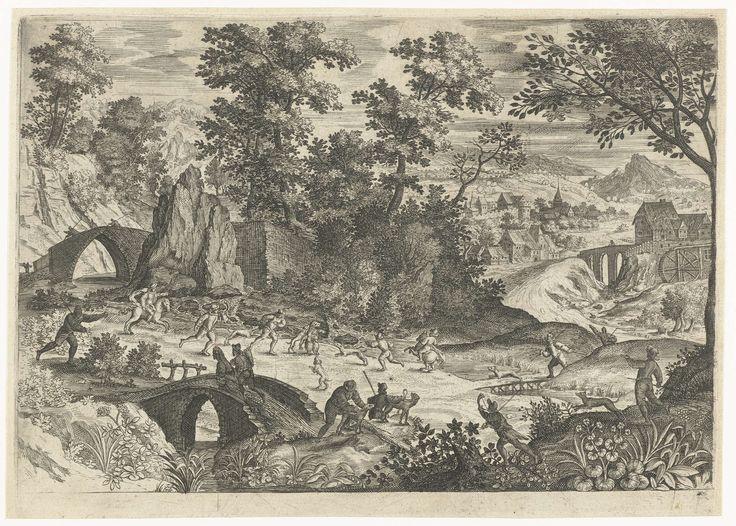 Anonymous | Landschap met berenjacht, Anonymous, 1575 - 1603 | In een bergachtig landschap jaagt een groep mannen met hun honden op een beer. Op de achtergrond rechts een dorp.