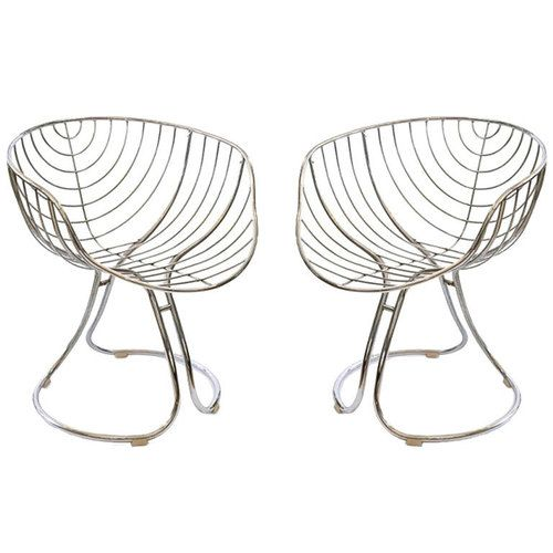 Pan Am Armchairs 1960s Chromeplated Steel Italy