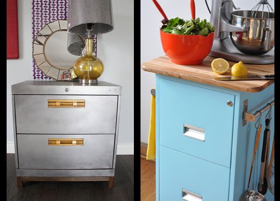 Add wooden feet/base to cabinet after removing paint. filing cabinet upcycle