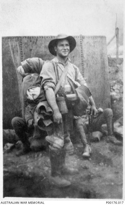 An Australian soldier packed up and ready to evacuate from ANZAC Cove.