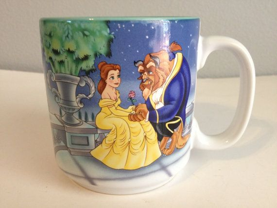 Vintage Disney Beauty and the Beast Coffee Mug Cup 1991 on Etsy, $11.99