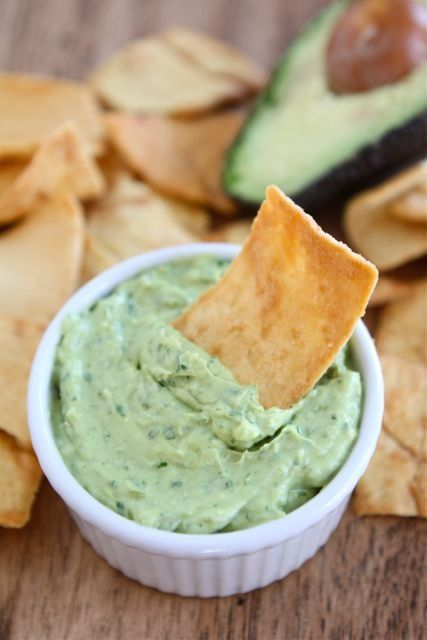 Healthy creamy avocado dip : greek yogurt, avocados, garlic, cilantro, jalapeno, lime juice, cumin, salt and pepper