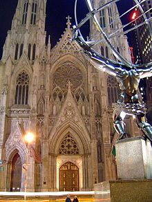 St. Patrick's Cathedral (Manhattan) - Wikipedia, the free encyclopedia...View of the cathedral from across Fifth Avenue, with Lee Lawrie's bronze statue of Atlas in the right foreground (March 2005)