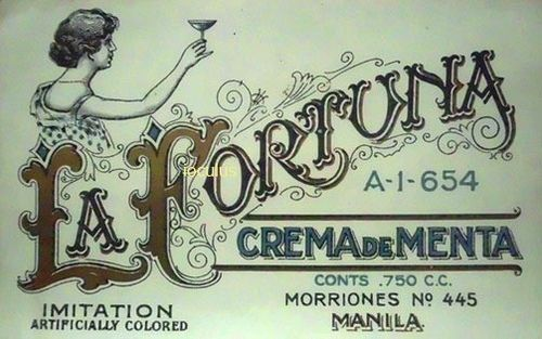 "An original (and beautifully-lettered) product label dating back to the early 1900s Philippines: a local version of crème de menthe, a mint-flavored alcoholic beverage once produced by the now-extinct Destileria La Fortuna of Tondo, Manila. Measures 5 1/4"" x 3 1/2"", paper. Several available.La Fortuna Crema de Menta"