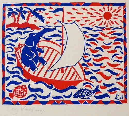 Elephant in a boat - Linocutprint