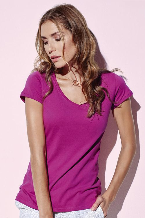 Tricou damă V-decolteu Megan Stedman Stars din 100% bumbac ring spun pieptănat #tricouri #stedman #personalizate