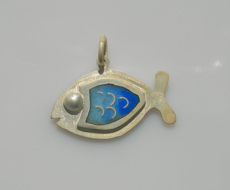 Fish of happiness pendant in sterling silver with cloisonné vitreous enamel by Sasha Leon Sculpture & Jewellery at www.slsj.co.za
