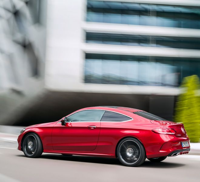 The new C-Class Coupe on its way in the city.