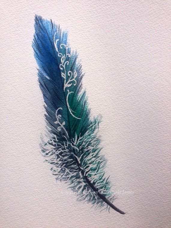 Conception de plumes bleues et vertes à l'aquarelle.                                                                                                                                                                                 Plus