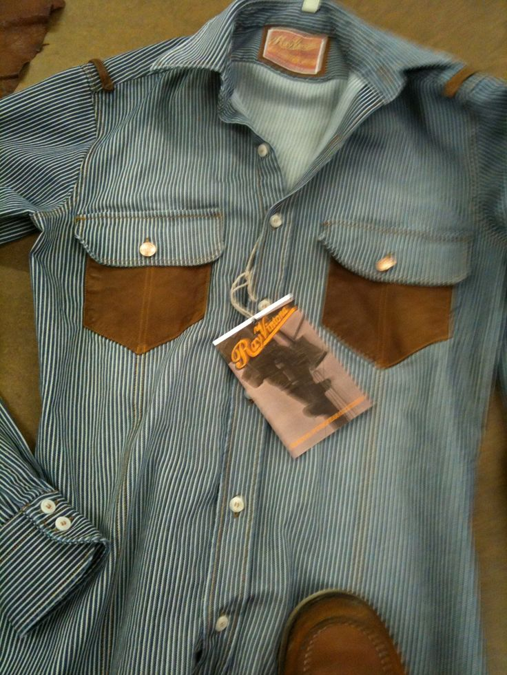 Pinstripe denim stone washed with old finish with leather details