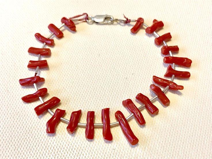 Vintage Handmade Sterling Silver Lobster Clasp Branch Coral Bracelet  | eBay