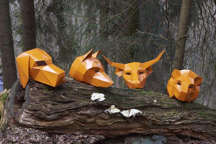masken, orange, shooting, werbeagentur [raster]fabrik gmbh,  hund, fuchs, stier, löwe, wald