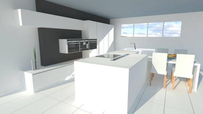Grande cuisine moderne avec lot fa ades laqu es blanc for Cuisines blanches laquees