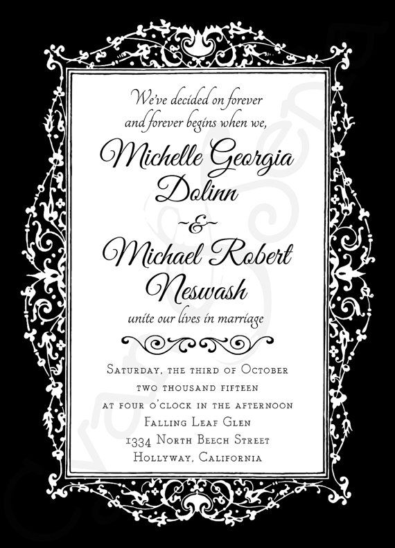 Ornate gothic frame printable 5x7 wedding or halloween for Free printable gothic wedding invitations
