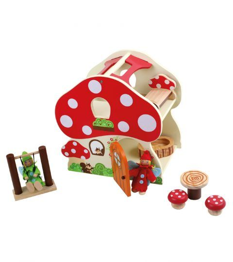 This cute 8 piece Legler Mushroom House for Kids has garden swings, sitting area & a bed making it a perfect toy for kids to play with & have fun.