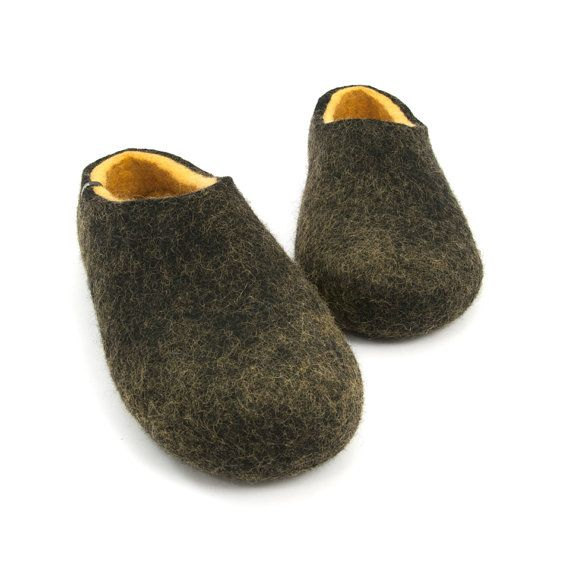 Mens Comfy Felted Wool Slippers /Dual Black yellow