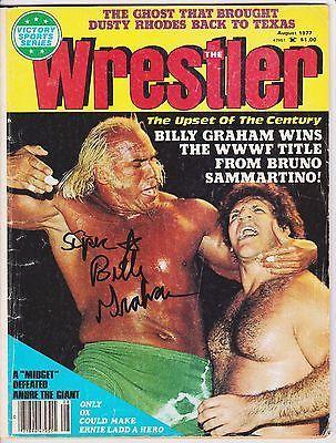 RARE SUPERSTAR BILLY GRAHAM SIGNED 1977 WRESTLER MAGAZINE WITH COA vs SAMMARTINO please retweet