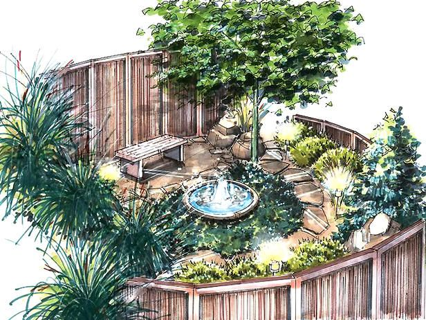 Meditation garden for the Pacific Northwest :: Grasses stir in the scented breezes. Bamboo panels and strategically placed plants create seclusion. This meditation-garden plan, elegant in its simplicity, creates a peaceful, soothing spot for quiet reflection.