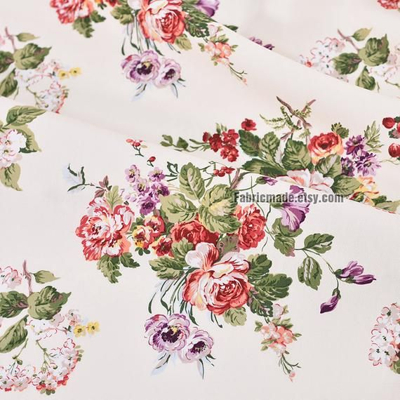 Red Floral 100/% Cotton Prints Vintage Dress Craft Fabric 160cm quilting fabric