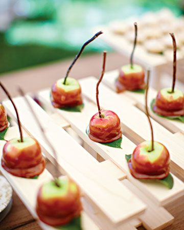 """Can offer this as an alternative to the traditional, but mini, candied apples.  """"Dessert Bar    The dessert bar was loaded with goodies, including caramel Lady apples with chocolate-ganache cores."""""""