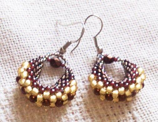 brown bead earrings/barna kistáska fülbevalók