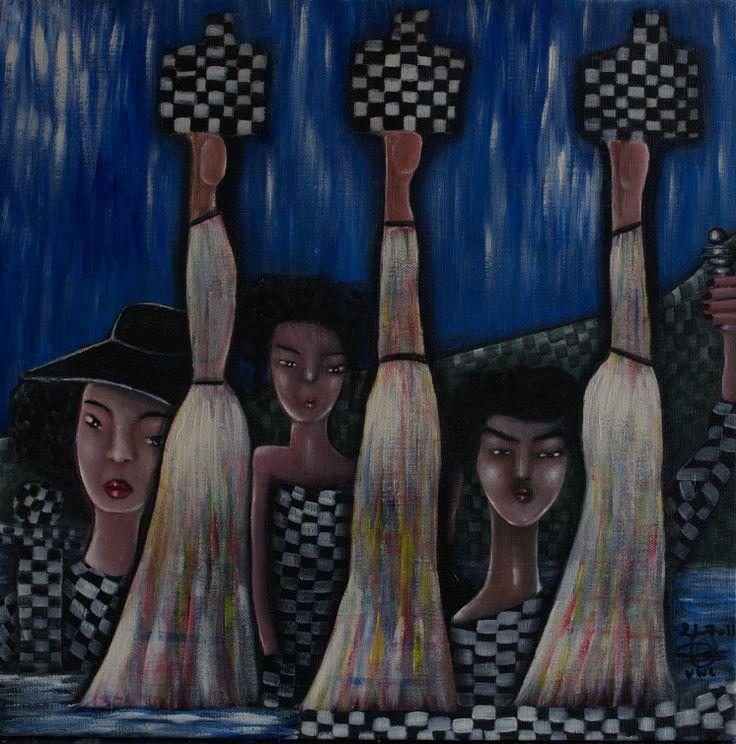 "VWL/Face/003  (Paris 2011 ""Checkers"")-Acrylic on canvas/Acrylique sur toile/Acrylico sobre tela (40X40cm)"