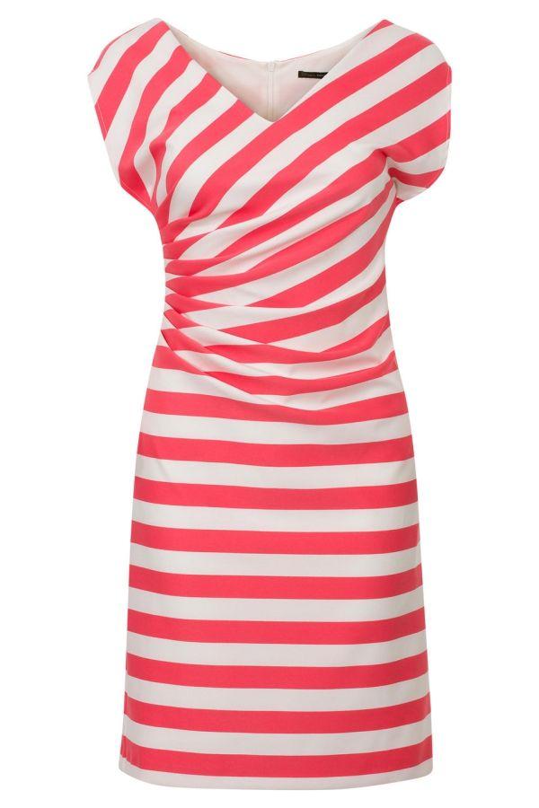 Streep jurk met plooi detail Roze