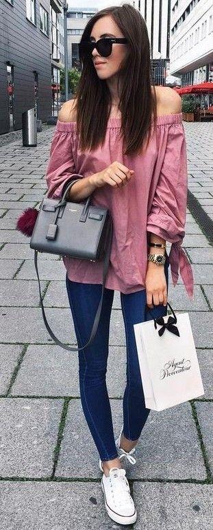 #summer #trending #outfits | Pink Bardot Blouse + Denim