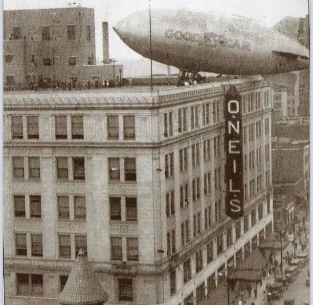 Goodyear Blimp docking at Oneil's Department Store Akron, Ohio