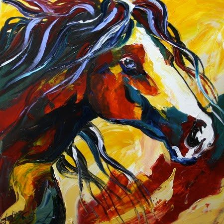 'The Lost Paint' Contemporary Equine Art Abstract Horse Daily Oil Painting by Texas Artist Laurie Pace, painting by artist Laurie Justus Pace