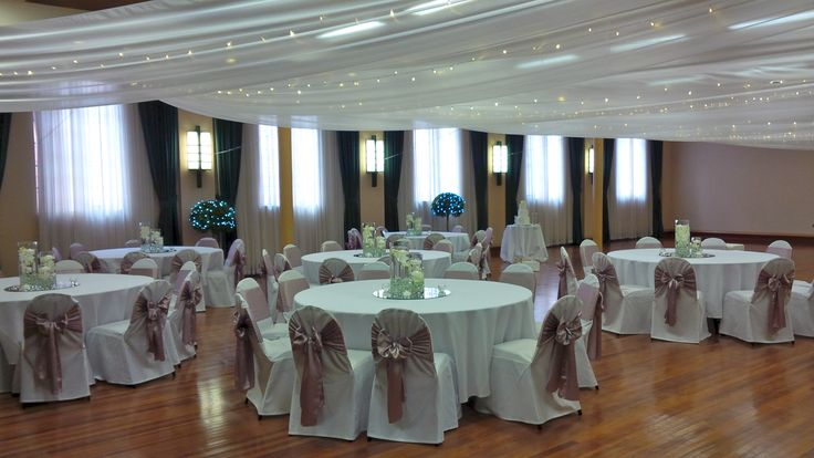 Newcastle City Hall #BanquetRoom #mushroom sashes #chair covers #ceiling drapery #fairylights #centrepieces
