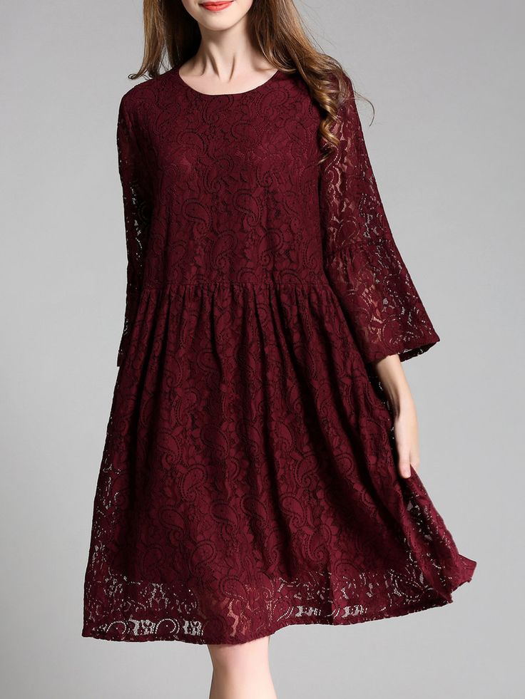 Guipure Lace Long Sleeve Floral Girly A-line Midi Dress - StyleWe.com