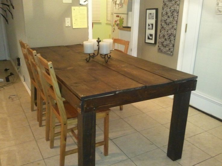 Rustic table 4x4 legs do it yourself home projects for 4x4 dining table