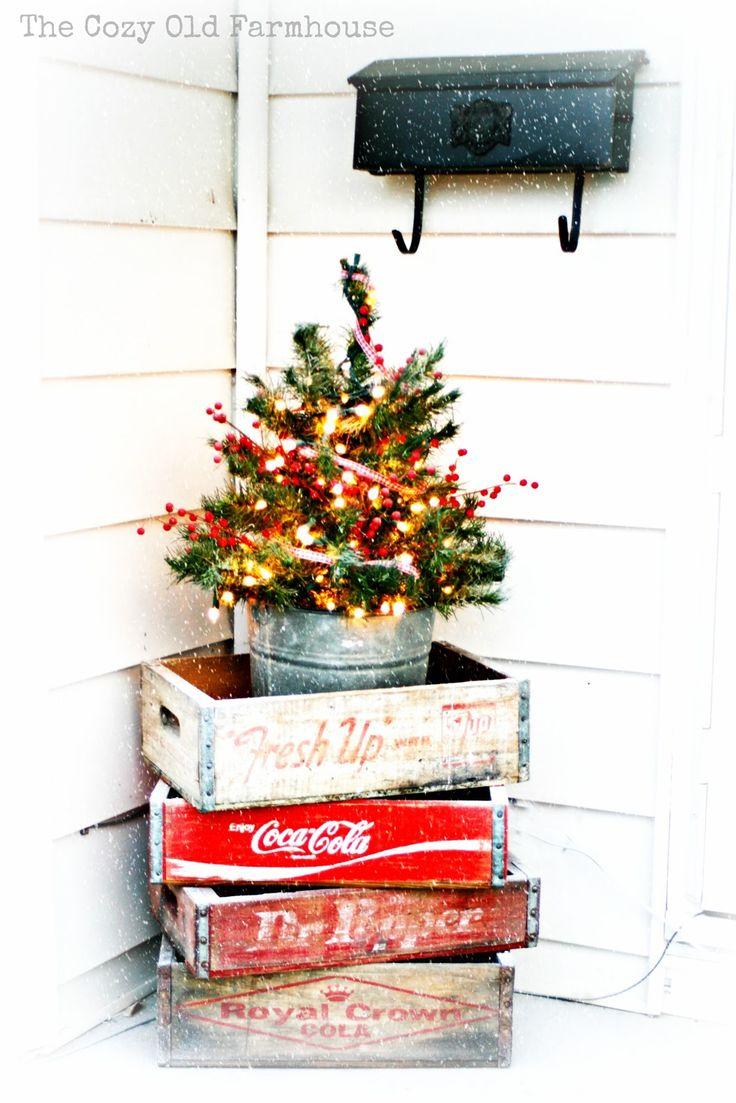 """Cute on your porch @Aryn Clark Clark Clark Clark Clark Proctor  The Cozy Old """"Farmhouse"""": A """"Junky"""" Christmas Porch"""