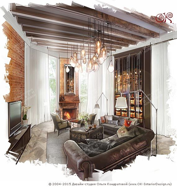 Дизайн гостиной в стиле лофт http://www.ok-interiordesign.ru/blog/stil-loft-v-interyere-zagorodnogo-doma.html